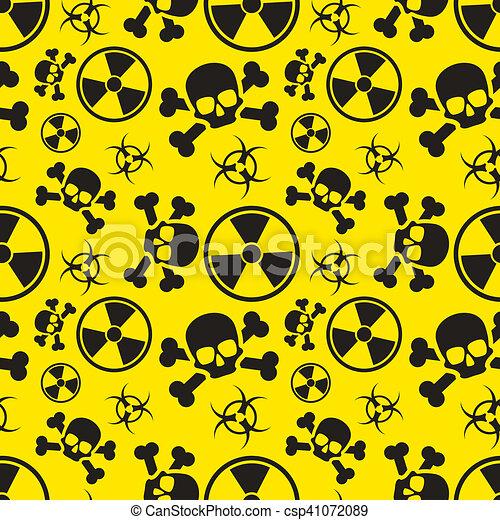Radiation and biological hazard danger signs on yellow, seamless pattern - csp41072089