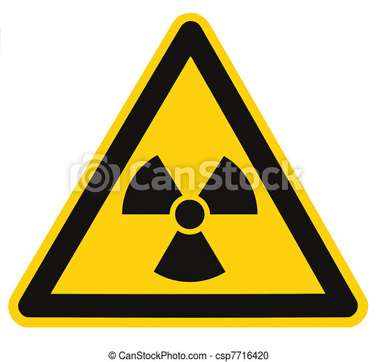 Radiation hazard symbol sign of radhaz threat alert icon, isolated black yellow triangle signage macro - csp7716420