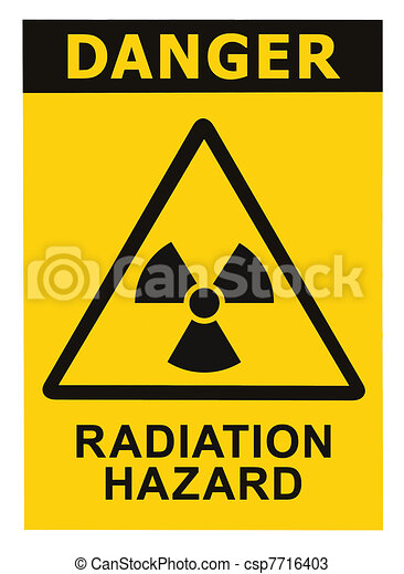 Radiation hazard symbol sign of radhaz threat alert icon, black yellow triangle signage text isolated - csp7716403