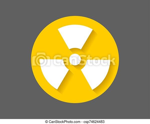 Radiation icon vector. Warning radioactive sign danger symbol. - csp74624483