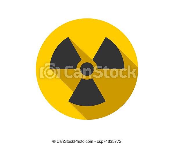 Radiation icon vector. Warning radioactive sign danger symbol. - csp74835772