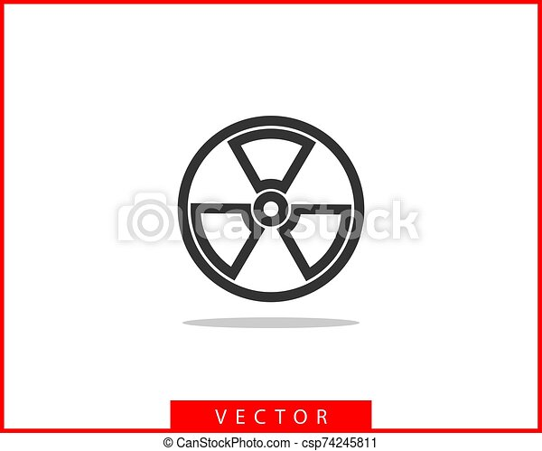 Radiation icon vector. Warning radioactive sign danger symbol. - csp74245811