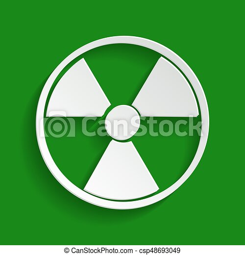 Radiation Round sign. Vector. Paper whitish icon with soft shadow on green background. - csp48693049