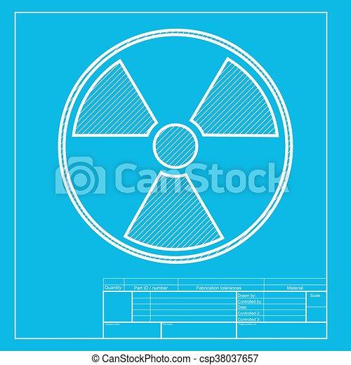radiation round sign white section of icon on blueprint template