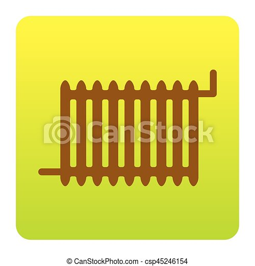 Radiator sign. Vector. Brown icon at green-yellow gradient square with rounded corners on white background. Isolated. - csp45246154