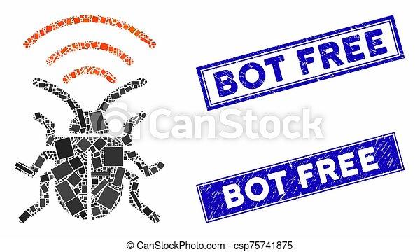 Radio Bug Mosaic and Distress Rectangle Bot Free Seals - csp75741875