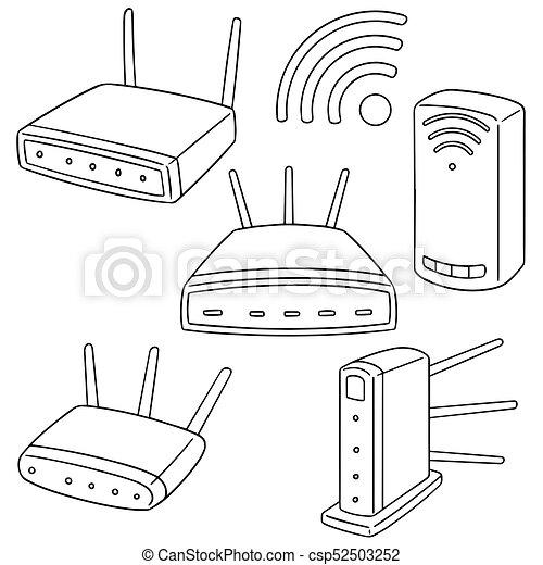 radio, router, vektor, satz - csp52503252