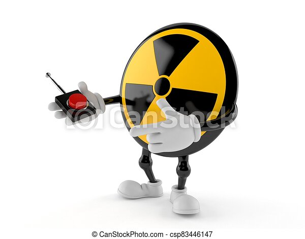 Radioactive character pushing button on white background - csp83446147
