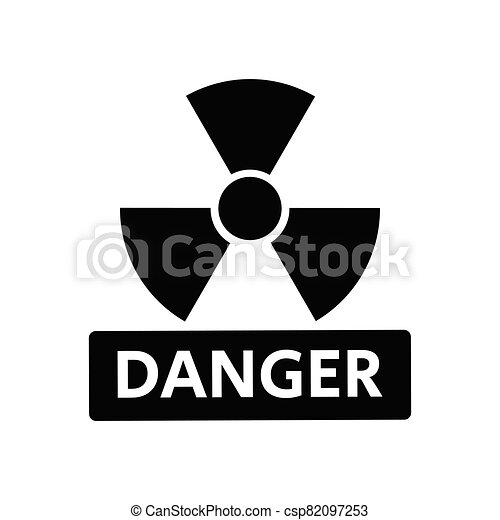 Radioactive Danger Vector Radiation Warning Sign Toxic Nuclear Icon Black Illustration - csp82097253