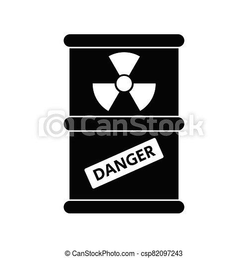 Radioactive Danger Vector Radiation Warning Sign Toxic Nuclear Barrel Icon Illustration - csp82097243