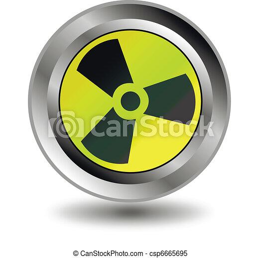 Radioactive danger yellow button. - csp6665695