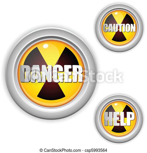 Radioactive Danger Yellow Button. Caution Radiation - csp5993564