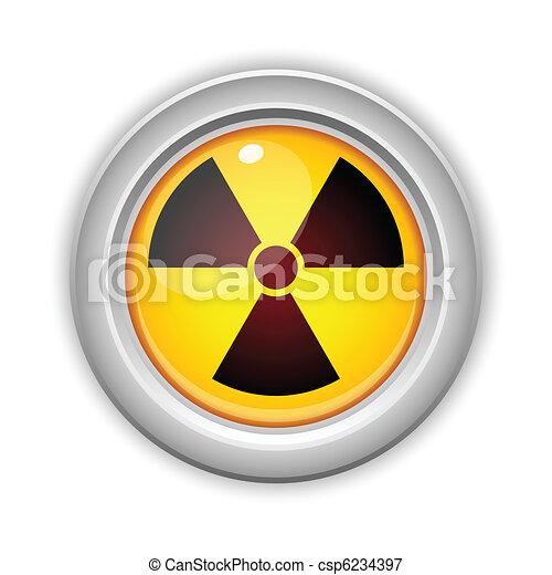 Radioactive Danger Yellow Button. Caution Radiation - csp6234397