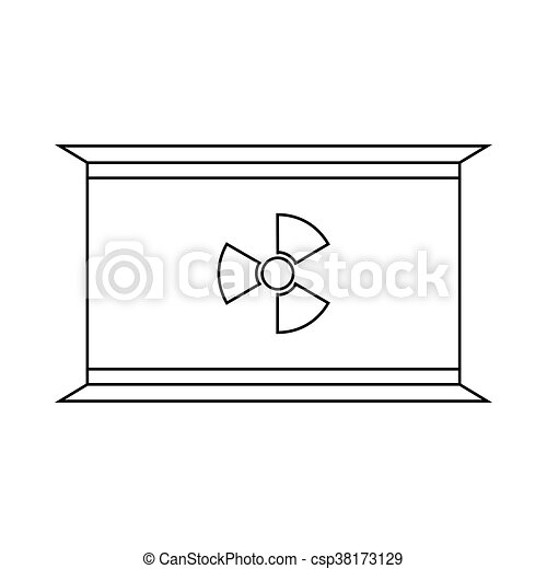 Radioactive waste container icon, outline style - csp38173129