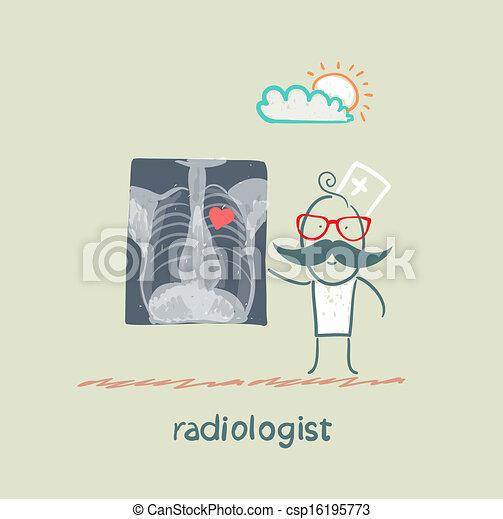 Röntgenbilder zeigen dem Radiologen ein Herz mit Herz - csp16195773