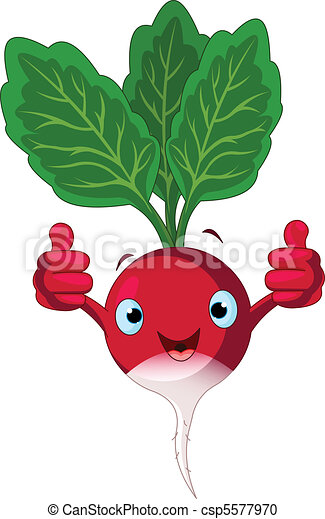 radish character giving thumbs up illustration of a