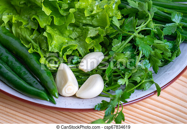 radish, parsley, onion and other vegetables on a plate - csp67834619