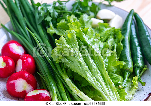 radish, parsley, onion and other vegetables on a plate - csp67834588