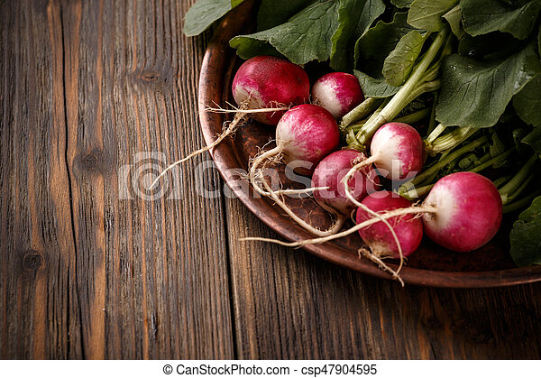 Radishes with leaves - csp47904595