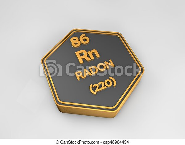 Radon Rn Chemical Element Periodic Table Hexagonal Shape 3d Render