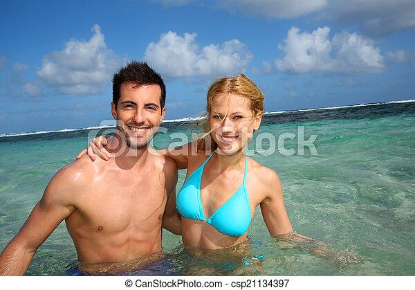 radosny, para, karaibski, laguna, pływacki - csp21134397