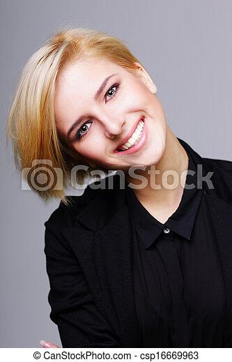 radosny, szary, kobieta, młody, tło - csp16669963