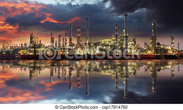 raffineria, olio, crepuscolo - csp17914760