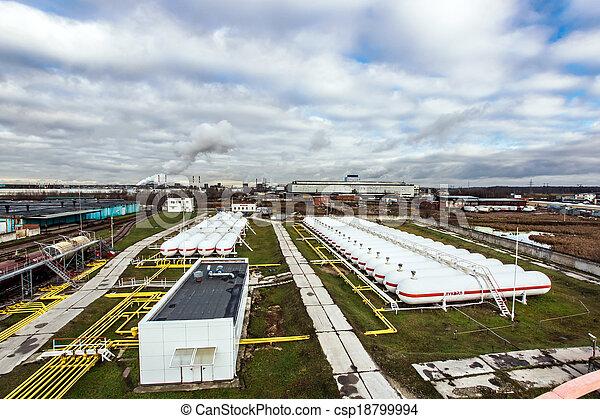 raffinerie, grand, huile, réservoirs - csp18799994