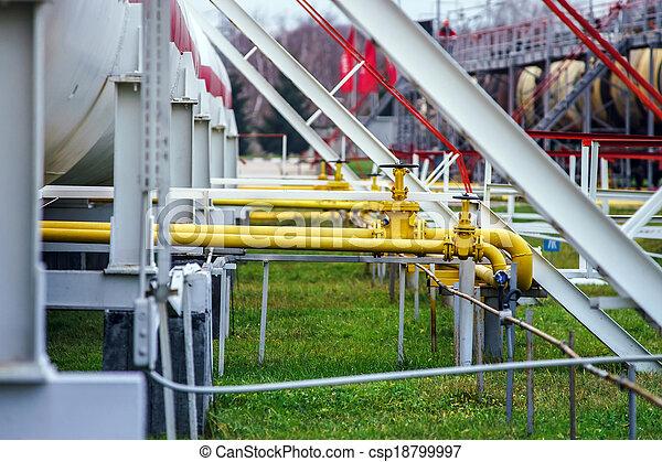 raffinerie, grand, huile, réservoirs - csp18799997