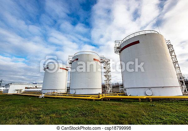 raffinerie, grand, huile, réservoirs - csp18799998