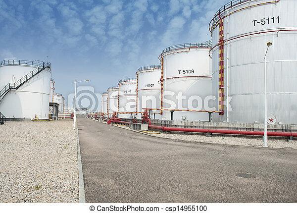 raffinerie, grand, industriel, réservoirs, huile - csp14955100