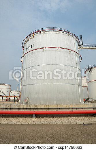 raffinerie, grand, industriel, réservoirs, huile - csp14798663