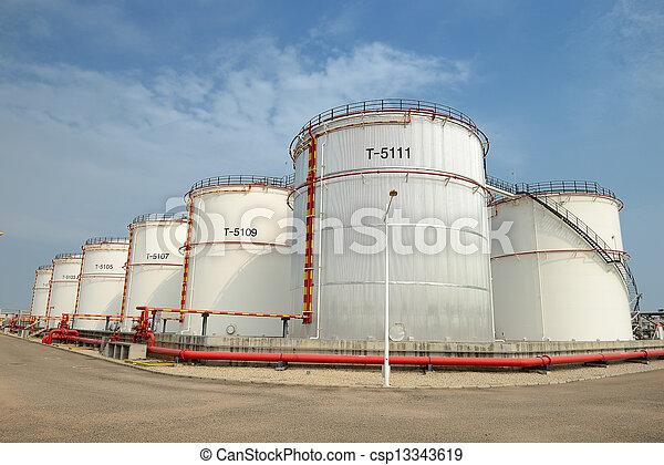 raffinerie, grand, industriel, réservoirs, huile - csp13343619