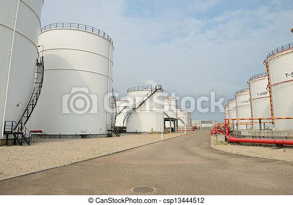 raffinerie, grand, industriel, réservoirs, huile - csp13444512