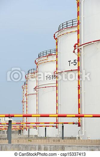 raffinerie, grand, industriel, réservoirs, huile - csp15337413