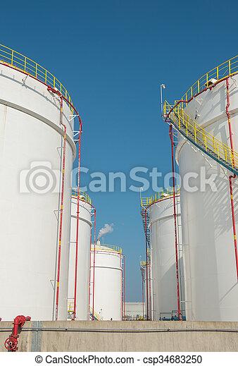 raffinerie, grand, industriel, réservoirs, huile - csp34683250