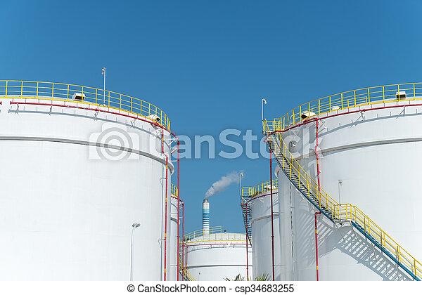 raffinerie, grand, industriel, réservoirs, huile - csp34683255