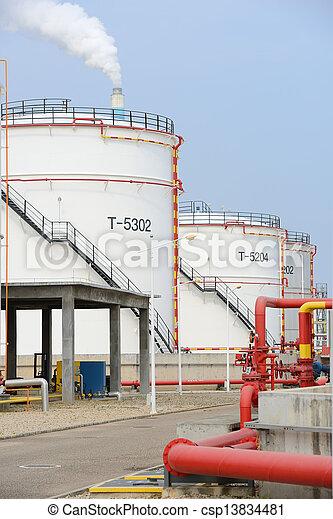 raffinerie, grand, industriel, réservoirs, huile - csp13834481