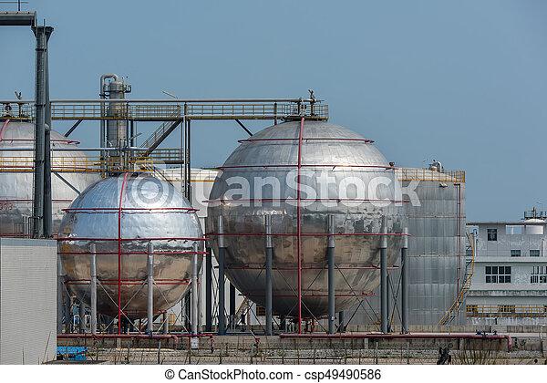 raffinerie, grand, industriel, réservoirs, huile - csp49490586