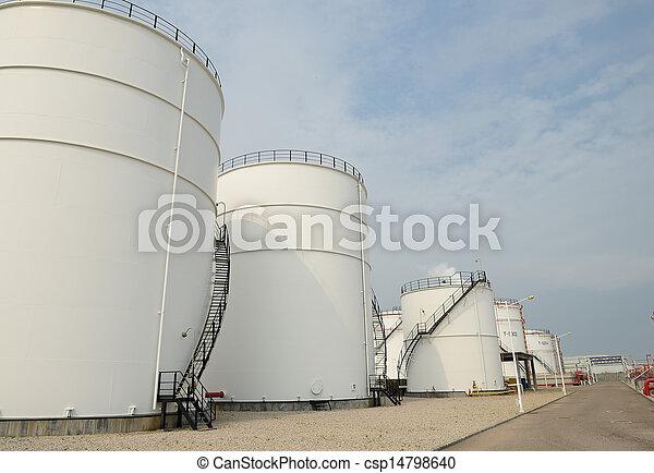 raffinerie, grand, industriel, réservoirs, huile - csp14798640