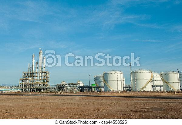 raffinerie, grand, industriel, réservoirs, huile - csp44558525