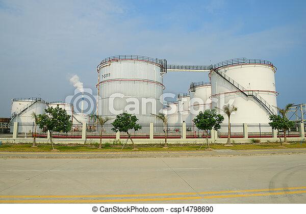 raffinerie, grand, industriel, réservoirs, huile - csp14798690