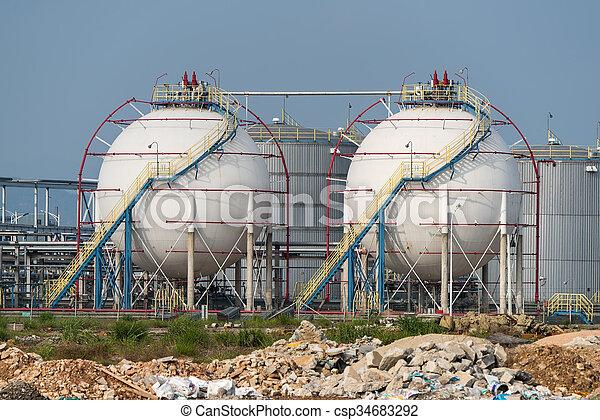 raffinerie, grand, industriel, réservoirs, huile - csp34683292