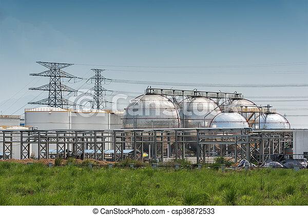 raffinerie, grand, industriel, réservoirs, huile - csp36872533