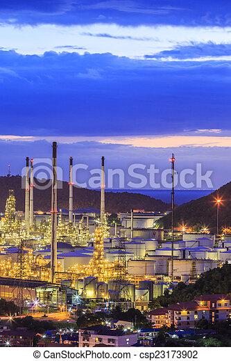 raffinerie, huile, crépuscule - csp23173902