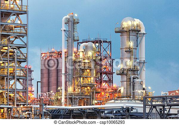 raffinerie, huile, crépuscule - csp10065293