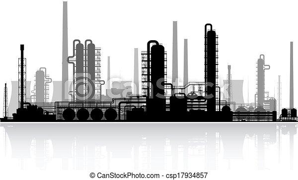 raffinerie, huile, illustration., vecteur, silhouette. - csp17934857