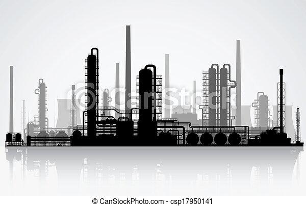 raffinerie, huile, silhouette. - csp17950141