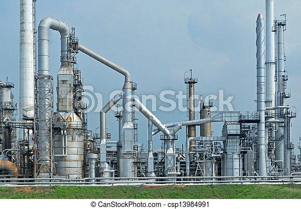 raffinerie, huile, usine, matin - csp13984991