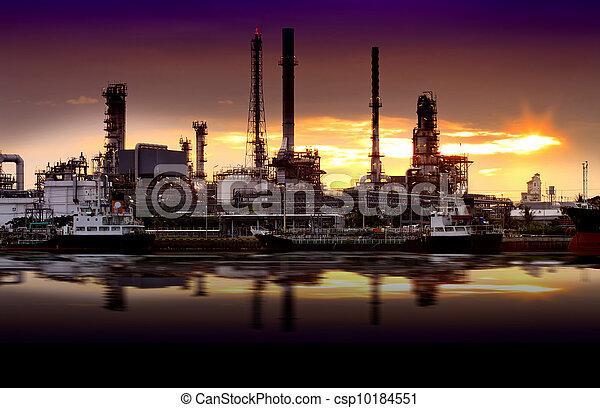 raffinerie, huile, usine, paysage, rivière - csp10184551